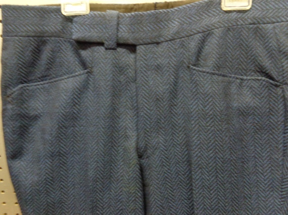 1970's Wool Pants Men's Blue and Black Chevron Pr… - image 1