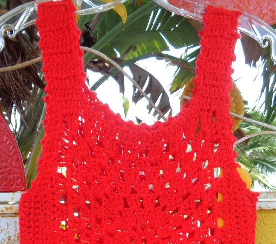 Hand Crocheted 1970s Red Ladies Pullover Sweater Vest