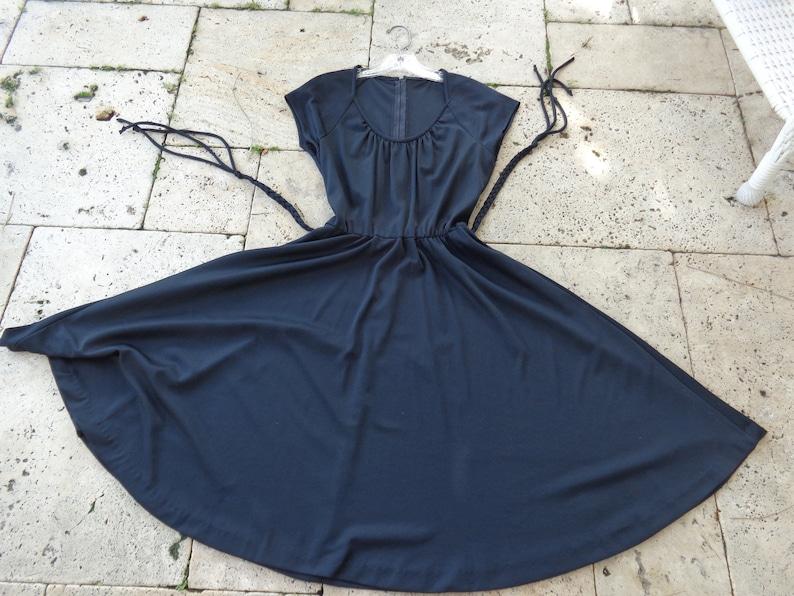 1970/'s Black Polyester Dress