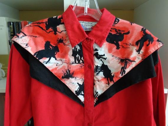 Shadow Canyon 1980's Western Shirt  Women's Red