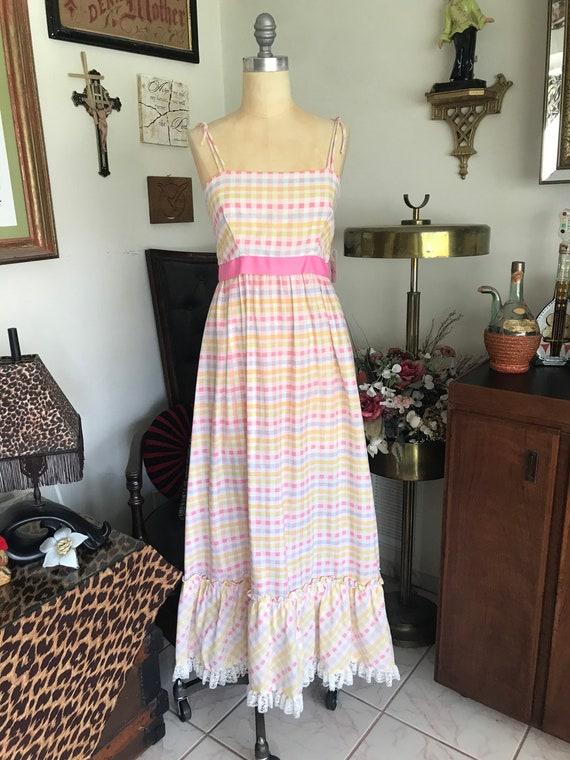 1970s Pastel Gingham Maxi Dress - image 2
