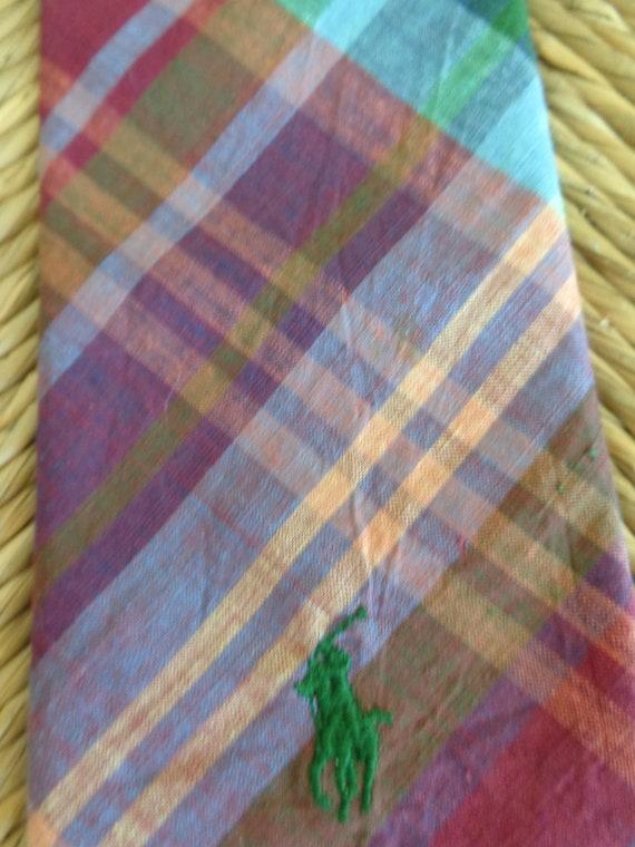 Ralph Lauren 1980s Madras Plaid Necktie - image 3