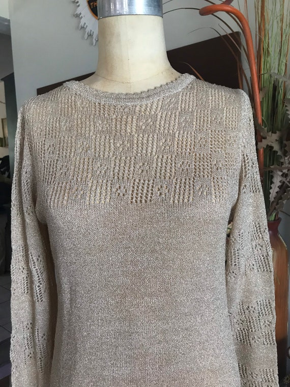 1960s gold knit bell sleeve dress with peek a boo