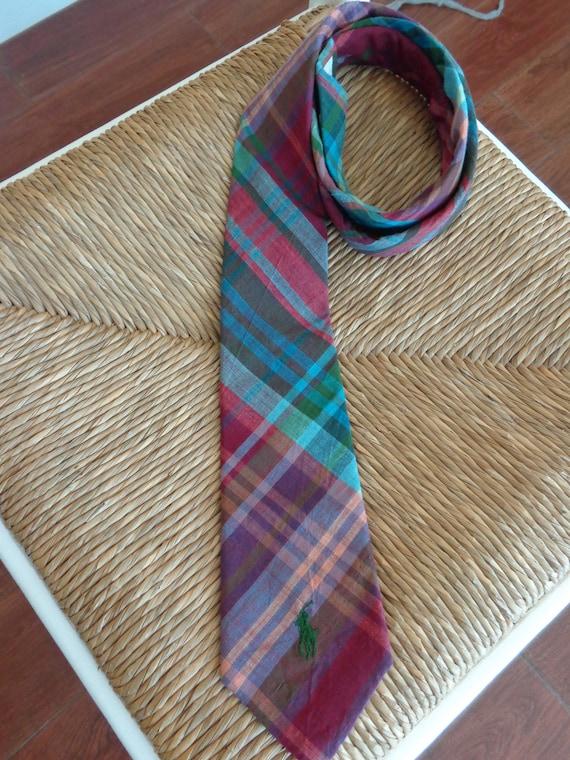 Ralph Lauren 1980s Madras Plaid Necktie - image 1