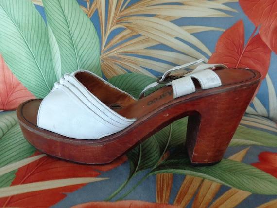 Antonio Marco Platform Sandals VINTAGE 1970's Whit