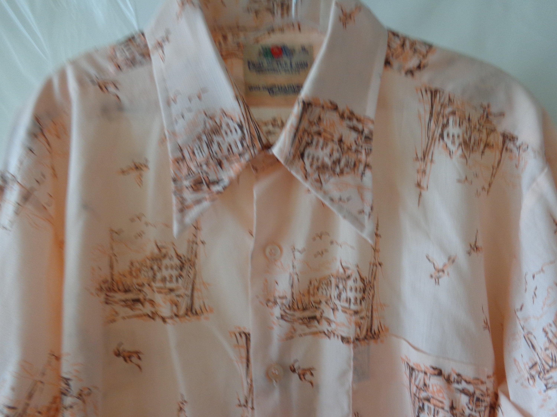 1970s Men's Shirt Styles – Vintage 70s Shirts for Guys Fruit Of The Loom Golden Harvest 1970s Pink Sailboat Print Shirt $49.00 AT vintagedancer.com