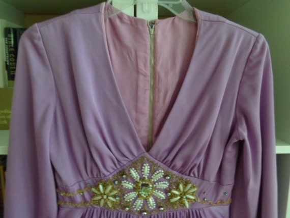 1970s Empire Waist Dress Lilac (Small)