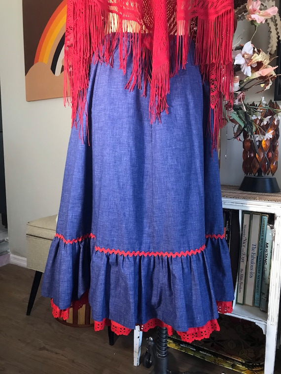 1980s Chambray Western Skirt - image 2
