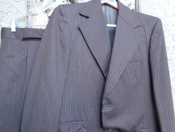 Men's 1970's Pinstripe Wool Suit