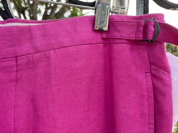 Ralph Lauren Polo 1980's Raspberry Linen Trousers - image 3