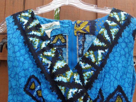 JC Penney 1960's Hawaii Barkcloth Blue Hawaiian Ma