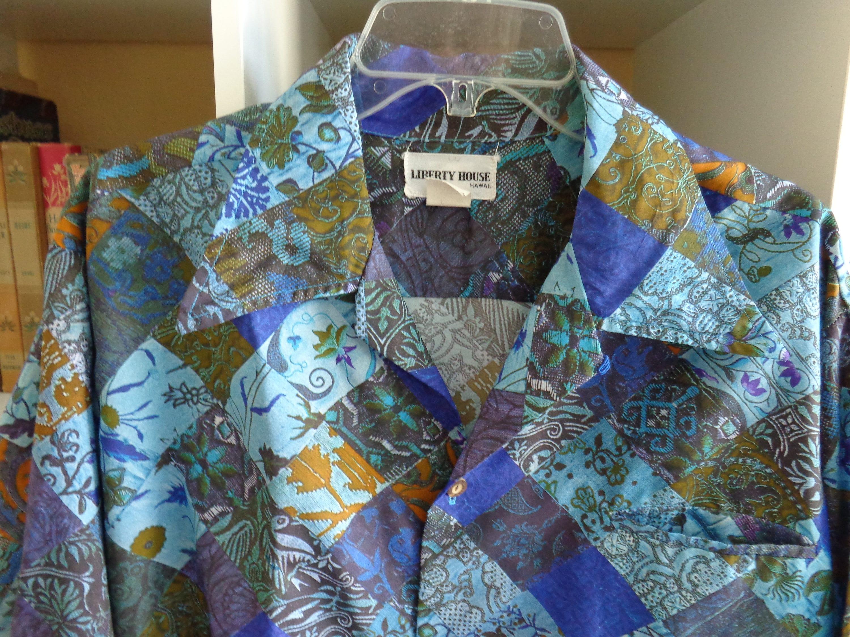 1970s Men's Shirt Styles – Vintage 70s Shirts for Guys Liberty House Hawaii 1970s Hawaiian Print Long Sleeve Disco Shirt $55.00 AT vintagedancer.com