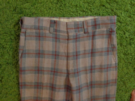 Men's 1970's Gray Plaid Cuffed Trousers