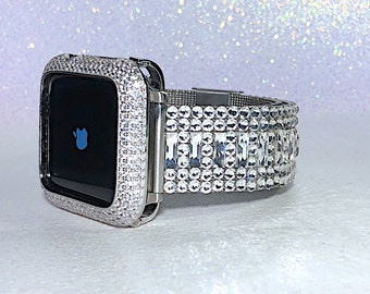 096554a86e52 Luxurious Band Bezel Crystal Swarovski Elements Mega Bling Silver Apple  Watch Band  Lab Diamond Case Series 1