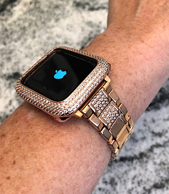 Luxury Rose Gold Apple Watch Band And Or Lab Diamond Bezel Etsy