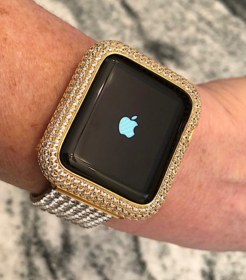 info for 7a8d4 a0ae8 38/40 42/44 Bezel Only Lab Diamond Apple Watch Bezel Bling Case Cover 14k  GP Yellow Gold Series 1,2,3,4 Micro Pave Bling iwatch Luxury