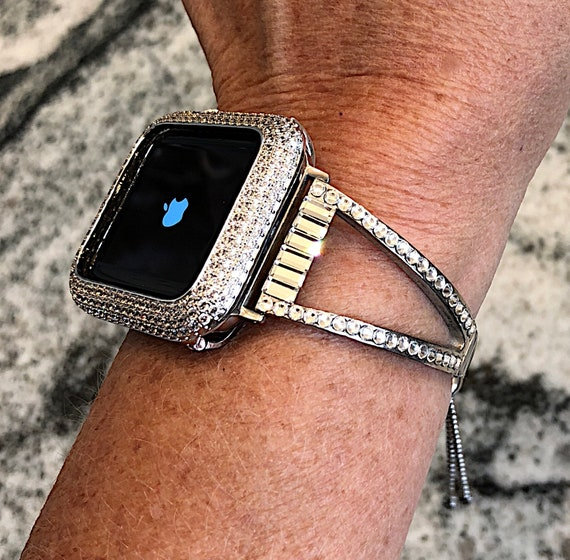 low priced 181f3 3c6b2 38/40 42/44 Luxury cuff Silver Swarovski Crystal Apple Watch Band /Lab  Diamond Bezel Case.Ladies Iwatch band bling case cover Series 1,2,3,4