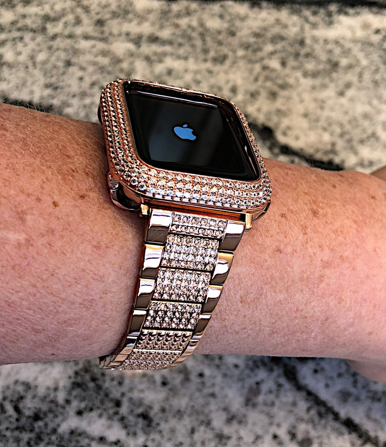 new styles 18a74 eb8be 38/40 42/44mm Rose Gold Diamond Apple Watch Crystal Band/Bezel W/Lab  Diamonds Case Cover Bling sparkling Bling Stainless band Series 1,2,3,4