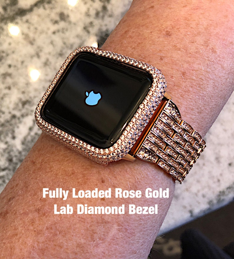sports shoes 744ca 45ba8 Fully Loaded Lab Diamond Rose Gold Apple Watch Bezel Cover in Series 1,2 /3  Case iphone iwatch Bling High End looks like real diamonds