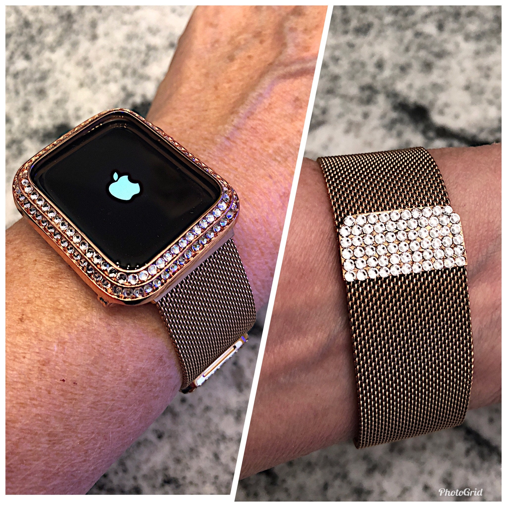 8769921ee32 Rose Gold with Clear Swarovski Crystal Elements Milanese Apple