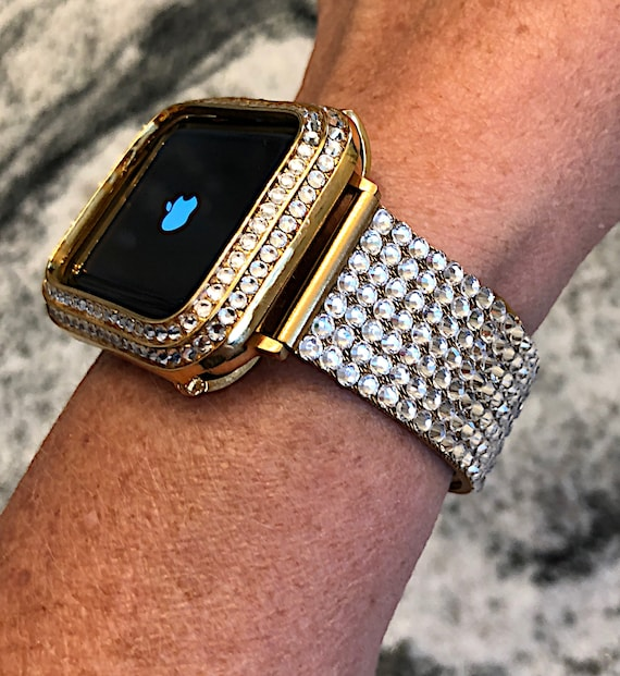 hot sale online 2a203 9e5f0 Band/Bezel Swarovski Crystal Elements Apple Watch Band and Case Yellow Gold  Bling Bezel 38/40 42/44 Series 1,2,3,4