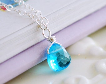 Bright Swiss Blue Topaz Jewelry Child Gemstone Necklace Children Genuine Flower Girl Sterling Silver December Birthstone