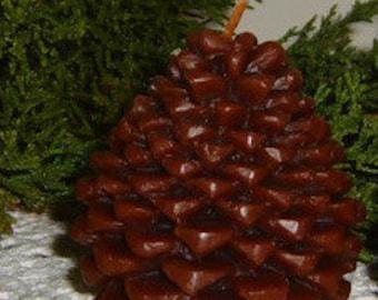 Natural Handmade 100% Beeswax Candle - pinecone