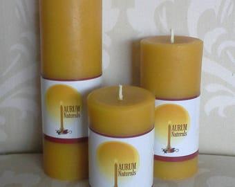 Handmade 100% Beeswax Candles - set of 3 column pillars