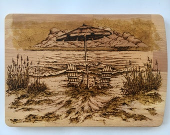 """Chairs for two15x10.75"""", Wood Burned Cutting Board with groove on opposite side of beach chairs and umbrella"""