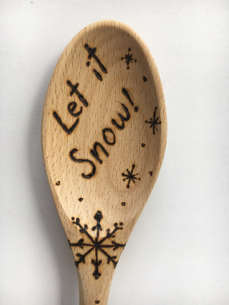 Holiday Wood Burned Two Piece Utensil Set Let it Snow with Snowman Merry Christmas with Santa