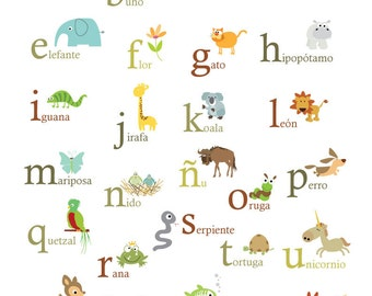Spanish Nature Themed Alphabet 8x10 -Spanish ABC