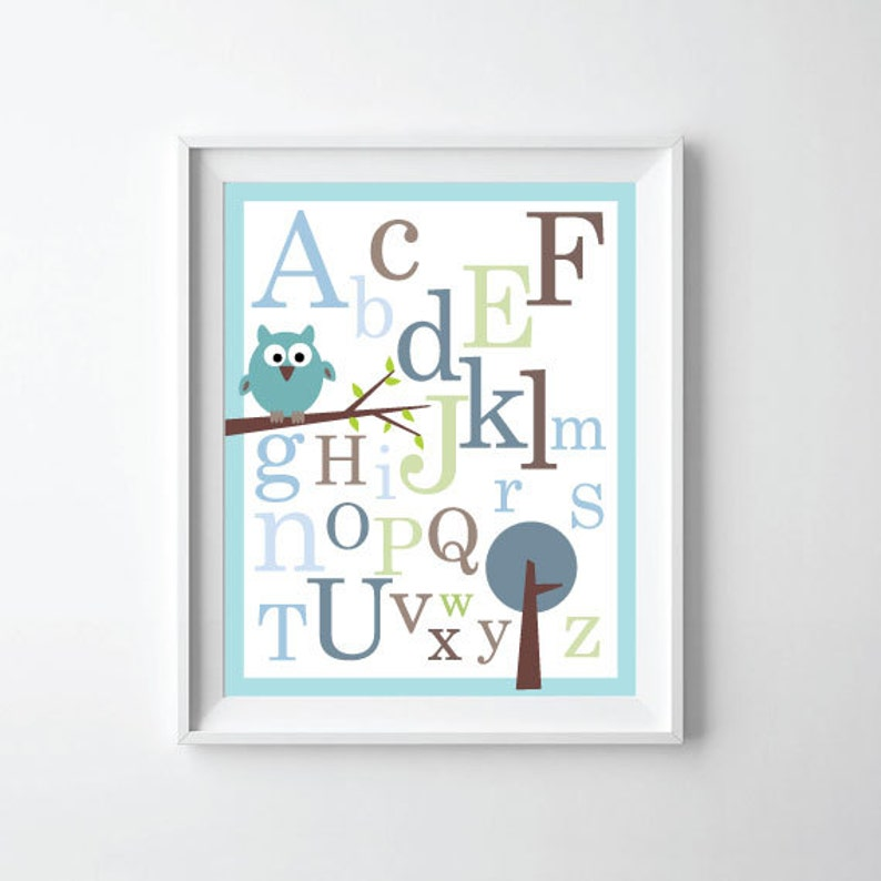 ABC Alphabet Poster print 8X10 - Baby nursery wall decor