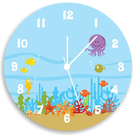 Kids Wall Clock, Ocean theme Children Room Decor, Life Under the Sea WALL  CLOCK for Girls Bedroom