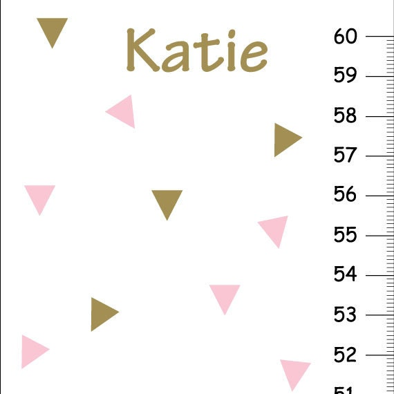 On Sale This Week Personalized Girl Height Chart Pink And Gold