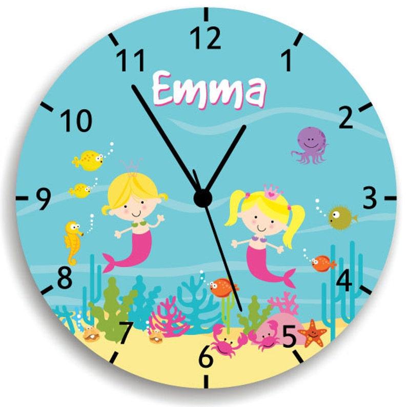 f6b1104b10c35 Kids Personalized Mermaids wall Clock Nursery Decor Mermaid