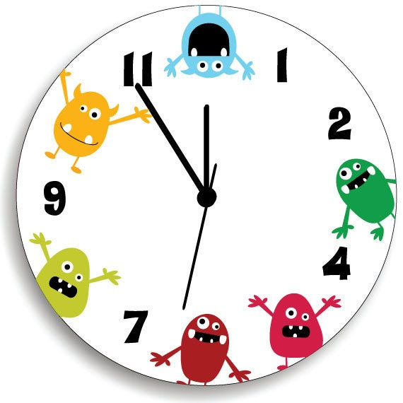 Monster Wall Clock For Kids Bedroom Baby Nursery Cute And Fun Etsy