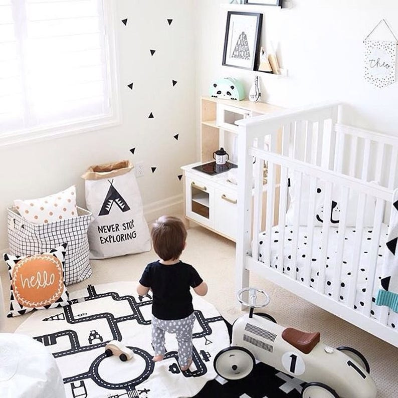 Nursery interior Tee pee  Craft Paperbag storage for toys Never stop Exploring