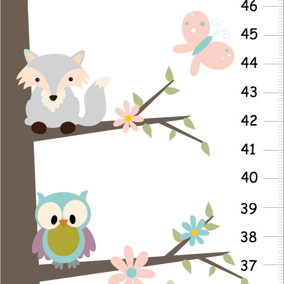 Woodland Forest Friends Fox And Owls Nursery Children Growth Chart
