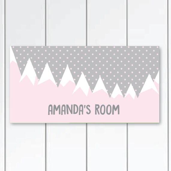 Berge In Grau Und Rosa Kinderzimmer Bergen Schlafzimmer Dekor Etsy