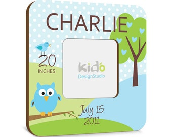 Personalized Baby Picture Frame with Baby Boy Birth Announcement, Blue and Green Photo Frame, Owl Baby Gift