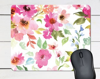 Floral Mouse Pad Anti Slip Mouse Mat Peony Floral Office Gift Floral Mouse Pad Flower watercolor Mousepad Mouse Mat Rectangular