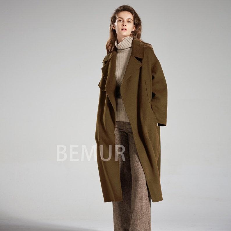 5ff153290c7 Wool Coat Women Olive Green Long Winter Coat Outwear Cardigan