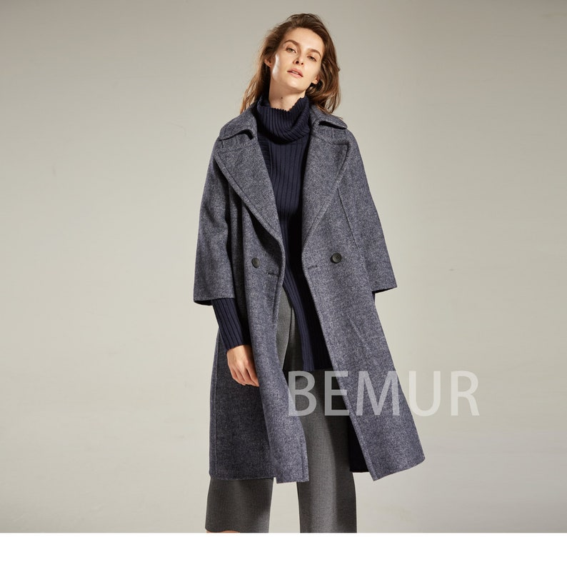 07832365871 Navy Bell Sleeve Loose Trench Coat Long Vintage Winter Pea