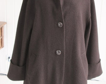 fbd66b1ba38 Boiled Wool Unlined Coat. Chocolate Brown Coat. Vintage Carole Little.  Fall