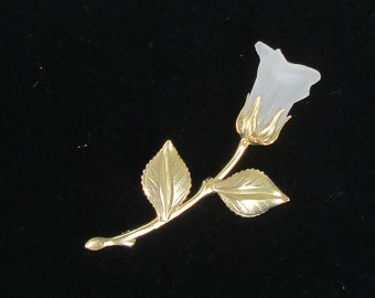 Vintage Rosebud Brooch. Silver-Tone. Delicate Rosebud. Perfect Gift. Wear With Dress, Sweater On Scarf