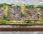Handmade Quilted Mini Table Runner - Eight-Point-Star 28 quot by 9 quot Yellow Green Plumeria Upcycled
