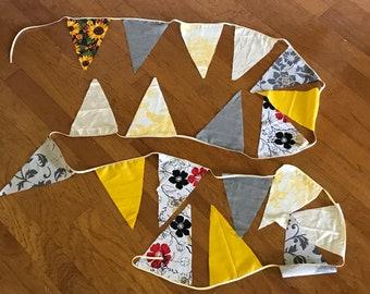 Scrappy Fabric Bunting - Yellow/White/Gray - 12 feet