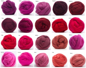 Merino Wool Roving 4 oz - 22.5 Micron, 21 Red colors available, Combed Top / Spinning Fiber / Felting Fiber