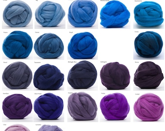 Merino Wool Roving 4oz - 22.5 Micron, 20 Blue and Violet colors available, Combed Top / Spinning Fiber / Felting Fiber