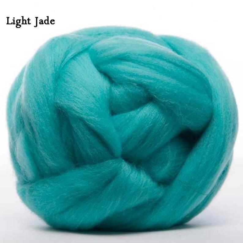 4 ounces Light Jade Merino Wool Top 22.5 micron